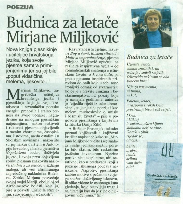 školske novine članak Budnica za letače broj 25. Zagreb, 2. rujna 2014