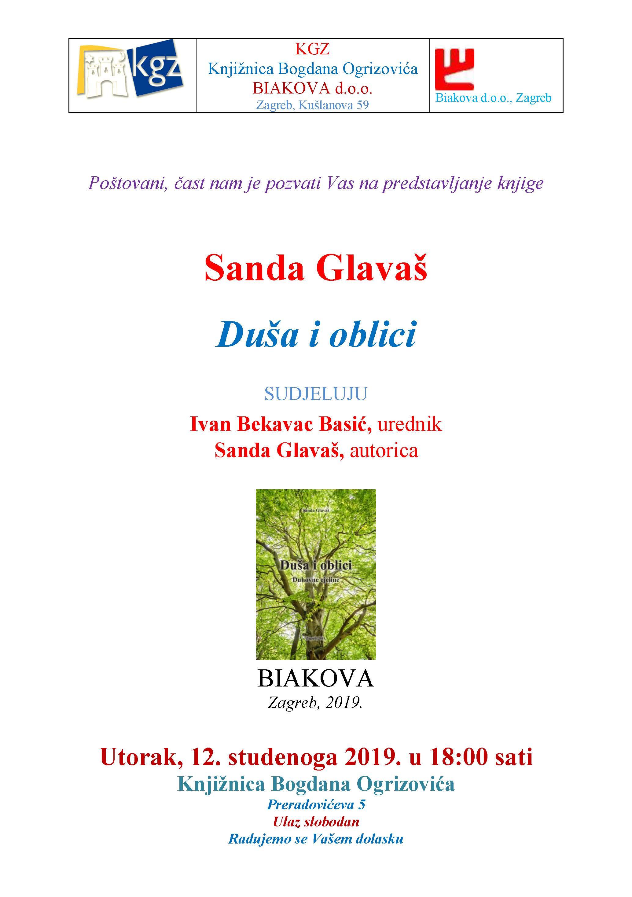 Pozivnica za predstavljanje Sanda Glavaš KGZ Ogrizovic (2)