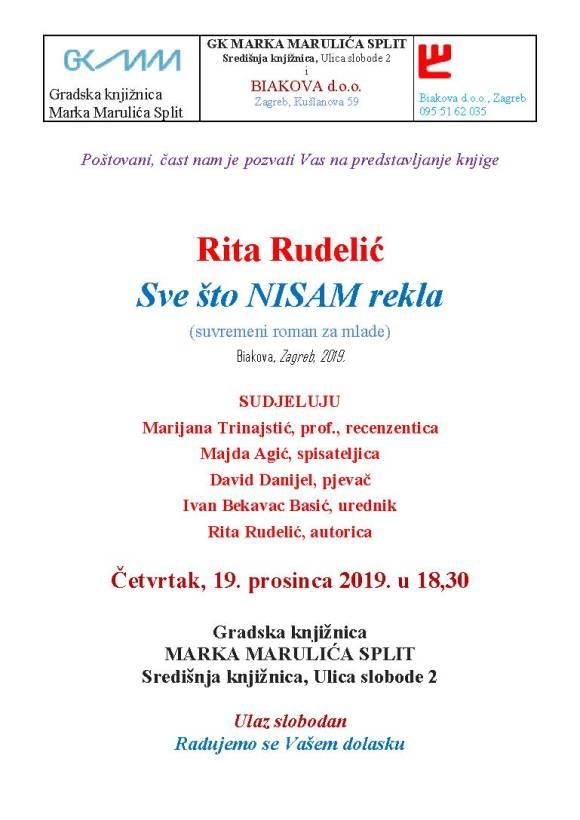 Pozivnica za predst Rita Rudelic 19 12 2019 GK MM Split
